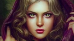 Look at me Picture  (2d, portrait, girl, witch, woman, eyes, purple, fantasy)
