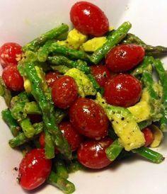 Avocado tomato asparagus salad.  Maybe grilled asparagus too.  Add mozzarella or artichokes?