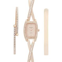 Infinite Ladies rose gold embellished watch and bracelet set   Debenhams