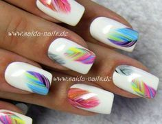 Sticker Colorful feather Saida Nails Your shop for professional nail designs - - Sticker Colorful feather Saida Nails Your shop for professional nail designs – - Nail Manicure, Diy Nails, Cute Nails, Pretty Nails, Spring Nails, Summer Nails, Fall Nails, Professional Nail Designs, Crazy Nails