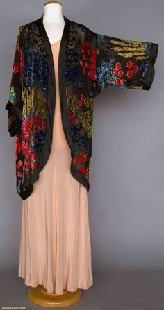 Evening Coat (image 2) | 1920s | chiffon, velvet, sequins | Augusta Auctions | April 9, 2014/Lot 190