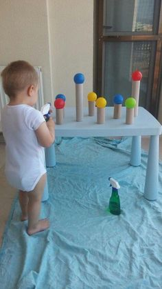 Cooper would LOVE this. Spray bottles for the win. Craft Activities For Kids, Kids Crafts, Cake Pops, Cake Pop, Cakepops