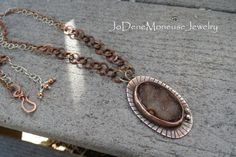 Druzy necklace, hand fabricated druzy crystal cabachon set in copper and acceneted with a handmade copper and sterling silver chain, metalsmith jewelry $165.00 by JoDeneMoneuseJewelry
