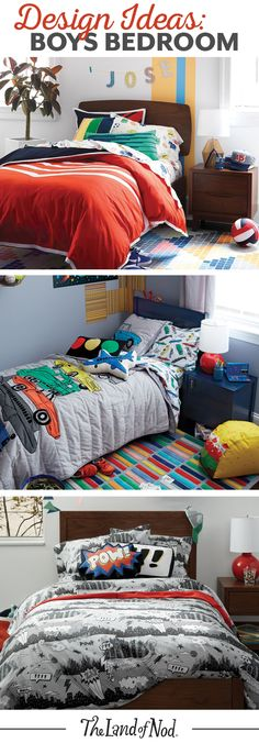 Searching for boys bedroom ideas? The Land of Nod has tons of inspiration for every boys room design. We all know that any kids bedroom should be filled with personal and stylish details. That's why we've got a mega lineup of kids furniture and kids bedding to match a variety of styles. Don't forget to top it all of with playful kids decor, too.