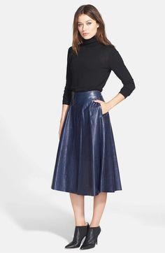 Main Image - Lafayette 148 New York 'Suzie' Lambskin Midi Skirt