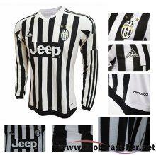 Maillot Football Juventus Noir/Blanc Manche Longue Domicile 15 2016 2017 Pas Chere