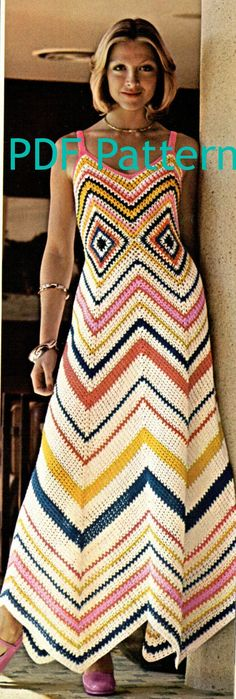 Very cute Vintage Chevron Maxi Dress crochet pattern. Awesome for garden party this summer by OneRetroLady on Etsy, $2.50