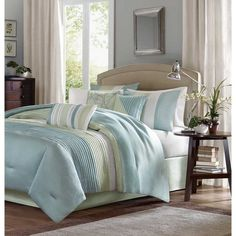 Contemporary Beach Comforter Set Blue Green 7 Piece Full Size Hypoallergenic Spa #MadisonPark #Contemporary