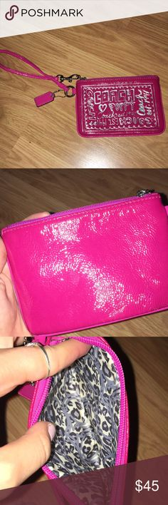 COACH POPPY WRISTLET Magenta wristlet, color closest to first pic.. not hot pink  Excellent condition. No stains on inside Patent leather with silver writing Coach Bags Clutches & Wristlets