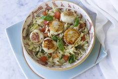 This Eric Riper's scallops with orzo, tomatoes and ginger recipe is the roadmap to many delicious everyday seafood dishes—with some variations. Substitute scallops with shrimp, crabmeat or fish, you have a different seafood flavor all together. To start, pick out what's seasonal and local for this dish.