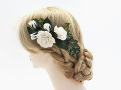 White Paper Roses Floral Hair Comb  Wedding by PaperGardenGallery