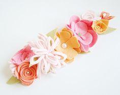Flower Crown Felt Floral Crown Aqua Green Pink by VictoriasClass
