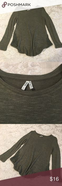 MUDD Camo Green Sweater MUDD Camo Green Sweater with lace detail - brand new - never worn - size medium Sweaters
