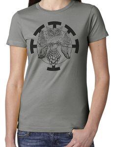 Ladies' Hand Drawn Great Horned Owl Original Art Screen Printed T Shirt