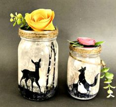 s 14 exciting mason jar ideas you just have to try, mason jars, 1 This woodland lamp Mason Jar Projects, Mason Jar Crafts, Mason Jar Holder, Candle Holders, Bathroom Containers, Mason Jar Terrarium, Tulip Colors, Bbq Table, Jar Art