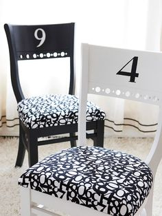 Take an old or unfinished wooden chair from simple to stylish with this easy treatment. Sand, prime, and paint the piece. Add a number to the chair back using a stencil and contrasting paint. Finish the transformation by covering the seat in numbered fabric. Remove the seat, place a layer of polyfill on top, and cover with the fabric, stapling in place on the bottom; replace the covered seat.
