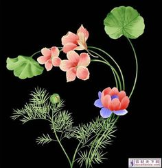 painted flowers | Fantasy hand-painted flowers PSD template, free hand-painted flower ...