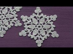 CROCHET motif Snowflake Ornament Crochet Tutorial Decoration for christmas tree - YouTube