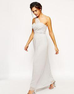 Elise Ryan One Shoulder Waisted Maxi Dress