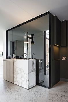 Bathroom Mirror Ideas - Discover ideas for restroom mirrors in every design or find out how you can frame an existing mirror to transform your shower room at success studio gallery Bathroom Interior, Modern Bathroom, Small Bathroom, Mirror Bathroom, Bathroom Ideas, Bathroom Marble, Design Bathroom, Washroom, Modern Wall