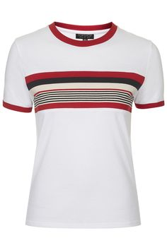Photo 1 of Stripe Insert Tee Tall Clothing, Piece Of Clothing, Topshop Tall, White Jersey, Material Girls, White Tees, Striped Tee, T Shirts For Women, Mens Tops