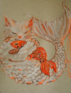 mermaid cats | Cat Mermaid And Gold Fish