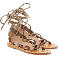 K.Jacques Leather Lace-Up Sandals ($260) ❤ liked on Polyvore featuring shoes, sandals, brown, leather lace up shoes, stitch shoes, k jacques sandals, laced up shoes and brown lace up shoes