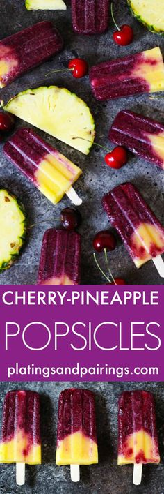Cherry and pineapple are a match made in heaven – especially when paired together in these Cherry Pineapple Popsicles. An icy summer treat that's perfect for cooling off on the patio! | platingsandpairings.com