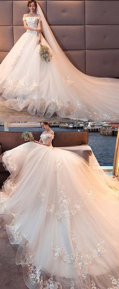 Attractive Tulle Off-the-shoulder Neckline Ball Gown Wedding Dress With Lace Appliques & 3D Flowers & Beadings #weddinggowns
