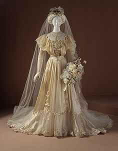 silk satin taffeta wedding dress and veil american 1905