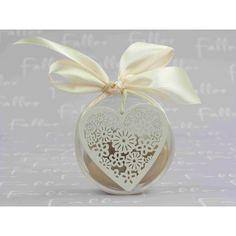 boite ronde a dragees mariage avec coeur blanc 4 - Contenant Drages Mariage Coeur