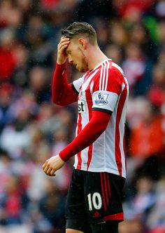 Connor Wickham of Sunderland reacts during the Barclays Premier League match between Sunderland and Swansea City at Stadium of Light on May ...