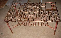 Hilbert Curve Coffee Table made from copper pipe