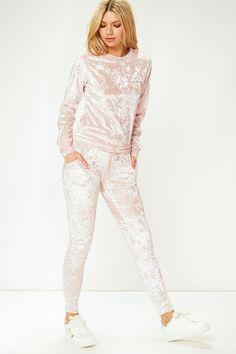 Eliya Pink Crushed Velvet Tracksuit