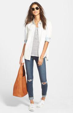 Treasure&Bond Chambray Shirt, Amour Vert Tank & Paige Denim Jeans | Nordstrom