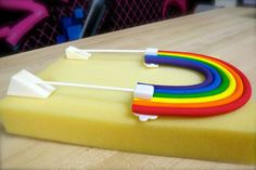 "From Krazy Kool Cakes: We do a lot of 2D standing cake toppers here in our studio. This rainbow cake topper we're drying now is just one example. So how do we make them STAND UP on our cakes? It's EASY. We create little gumpaste bricks, a little less than half an inch thick, insert a lolly stick a little more than half way up the brick, then glue it to the back of our topper. These are 8"" lolly sticks but you can certainly add smaller ones if you wish."