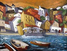 Giclee Print: Cafe del Mar by Miguel Freitas : Naive Art, Painting Edges, Stretched Canvas Prints, Oeuvre D'art, Watercolor Paper, Framed Artwork, Find Art, Giclee Print, Digital Prints
