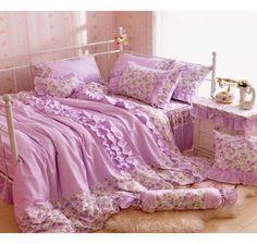 Purple Girls Princess Plaid Lace Ruffle Bedding