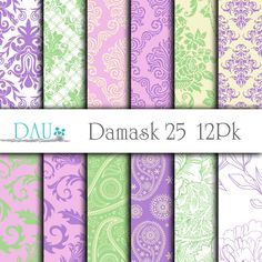 12 Pack Damask Paisley Floral Lavender Lime Green Purple Instant Download 12x12 300DPI  Zip Files Wedding Scrapbook Background Card Design by DigitalArtUtopia on Etsy https://www.etsy.com/listing/251689647/12-pack-damask-paisley-floral-lavender