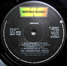 UNDISPUTED TRUTH - Smokin' (Whitfield K 56497) click to see the tracklist. Vinyl   Music