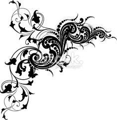 Cachemire, Arabesque, Art nouveau, Motif floral, Noir Illustration vectorielle libre de droits