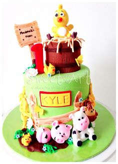 Sweet Art Cakes by Milbreé Moments: Kyle's Farm Animals 1st Birthday Cake