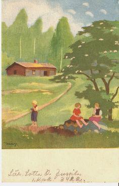 Childrens Christmas, Christmas Art, Vintage Cards, Vintage Postcards, Retro Kids, Scandinavian Art, Old Art, Children's Book Illustration, Vintage Children