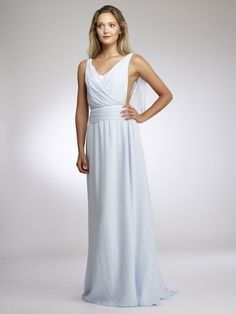 Silk Chiffon A-line gown with low draped back  - Download #specialoccasion #dress #beautiful