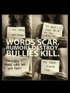 October is Anti-Bullying Awareness Month! It shouldnt have taken anyone to learn about aManda todd before they understood the results of bullyinv Stop Bullying Now, Anti Bullying, Cyber Bullying, Sad Quotes, Inspirational Quotes, Qoutes, Motivational, Hurt Quotes, Badass Quotes