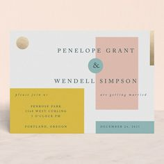 """Paradigm Pair"" - Modern Foil-pressed Wedding Invitations in Butterscotch by CeCe Fields."