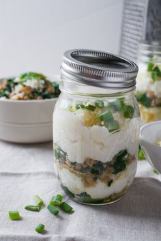 Savory Grits Breakfast Parfaits Recipe. This is perfect if you're looking for ideas and recipes for make ahead on the go meals! Take your lunch to work or your breakfast!