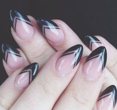 stiletto nails with black tips and negative space