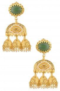 Gold Finish Green Jadtar Jhumki Earrings #perniaspopupshop #shopnow #newcollection #goldfinish #JustJewellery #accessories #ethnic #bridal #jewellery #jhumki