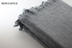 Stonewashed Blanket Oversized Blanket Herringbone by MonCastle